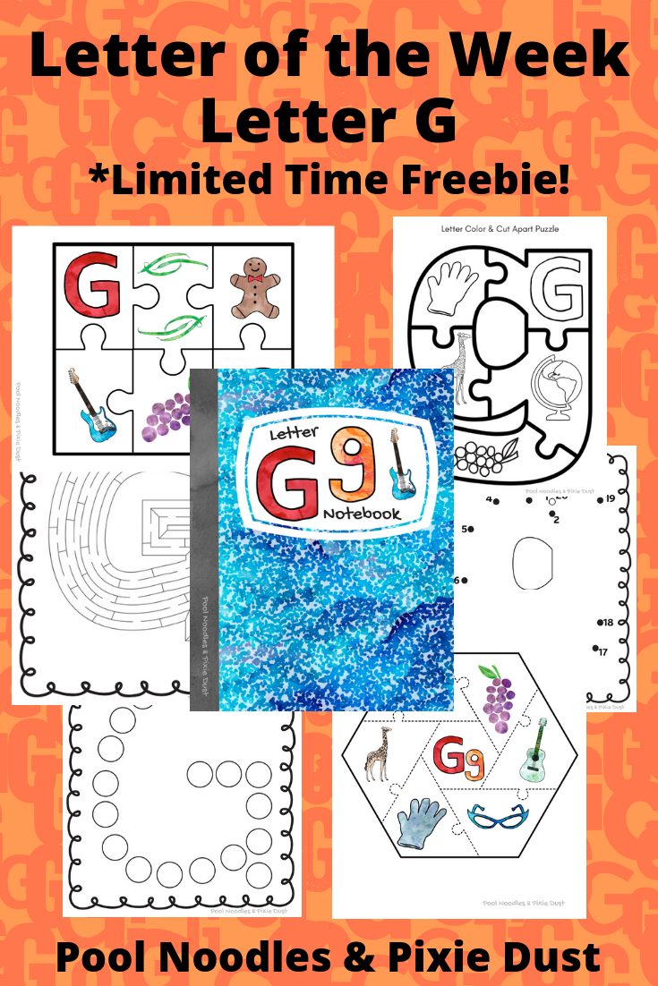 Letter of the Week - Letter G - Limited Time Freebie Letter G Notebook Pack - Pool Noodles & Pixie Dust