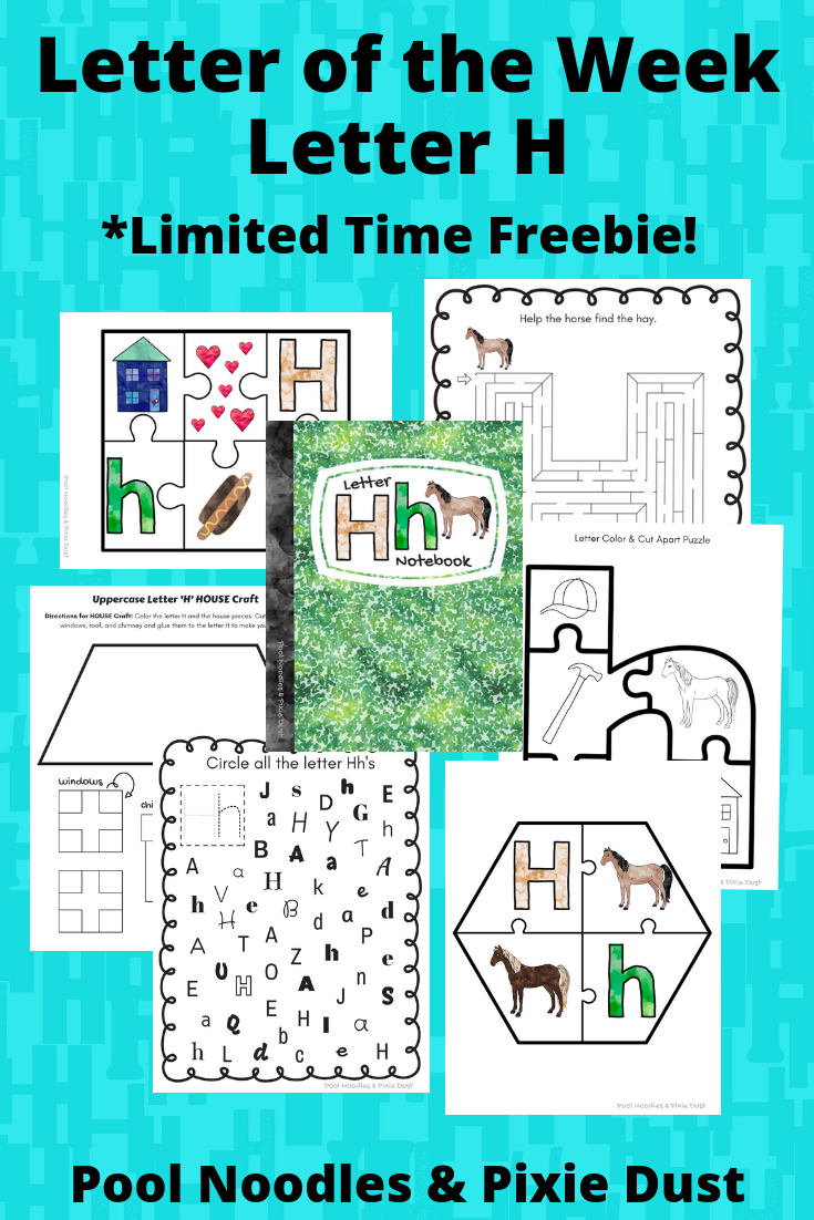 Letter of the Week - Letter H- Ideas, Book List, and Printable Letter H Notebook pack - Pool Noodles & Pixie Dust