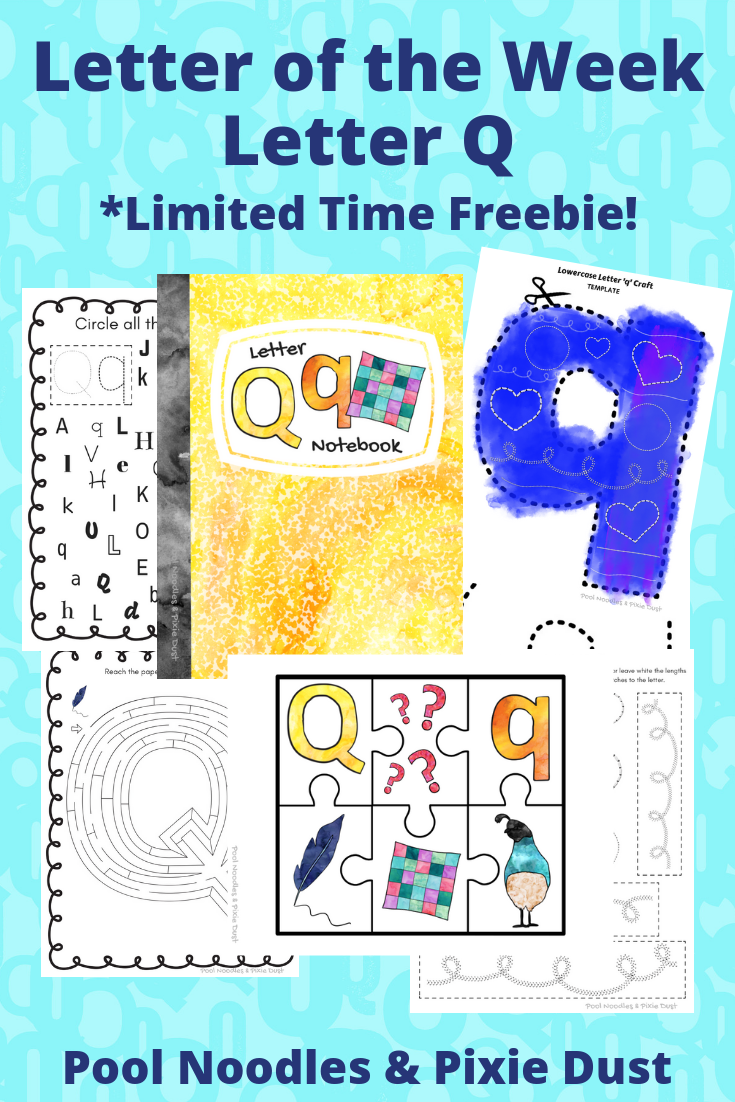 Letter of the Week - Letter Q play ideas, book list, animals that start with Q and a printable Letter Q Notebook.