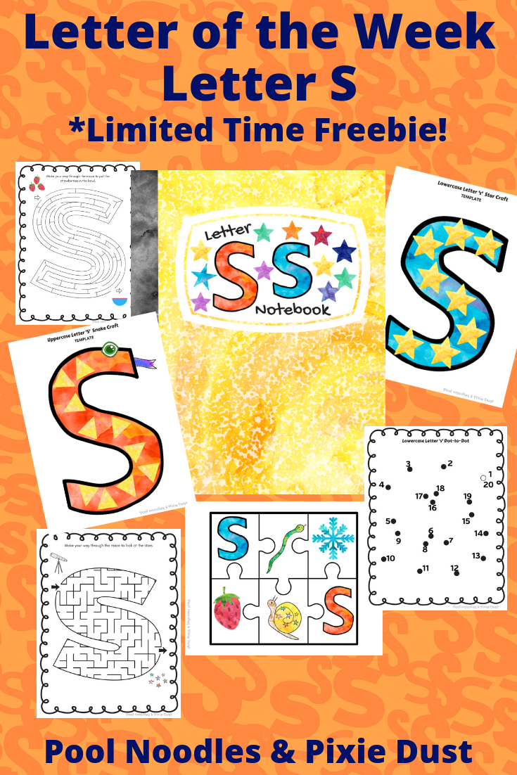Letter of the week - Letter S - Play ideas, book list, animals that start with S, and a printable letter S notebook