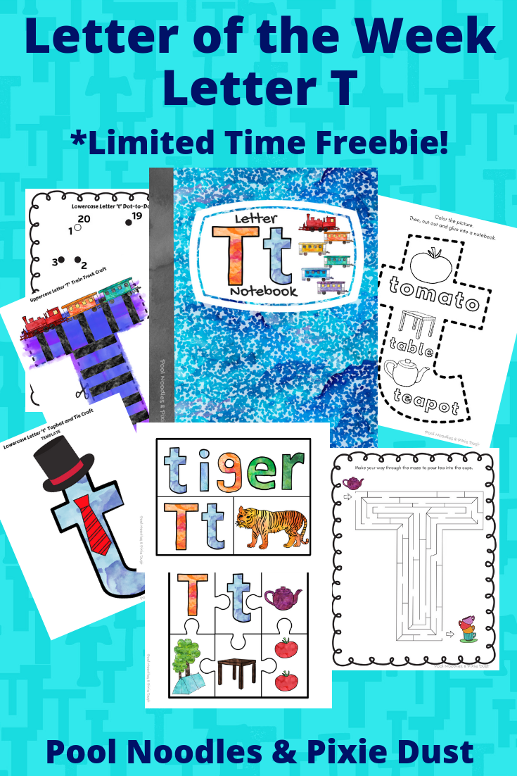 Letter of the Week - Letter T - Book list, Play Ideas, Animals that start with T, Plus a printable letter T Notebook with crafts and activities all about the letter T.