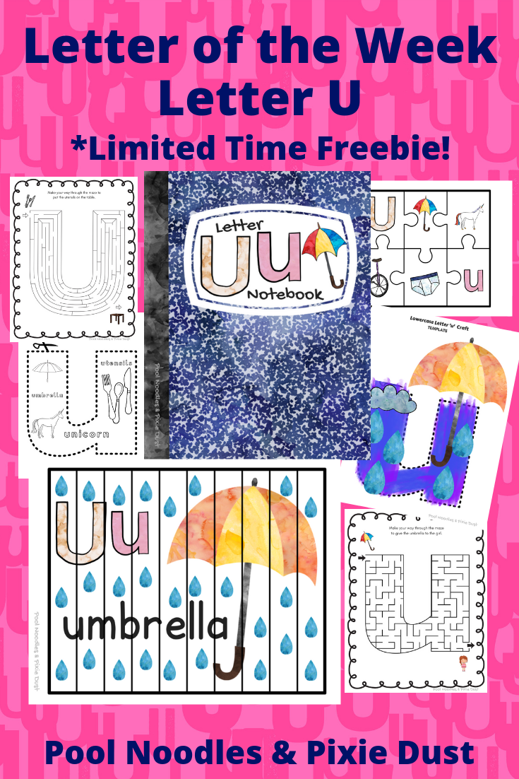 Letter of the Week - Letter U - Play Ideas, Book List, Animals that start with U, and a printable letter U Notebook full of printable activities and crafts focused on letter U.