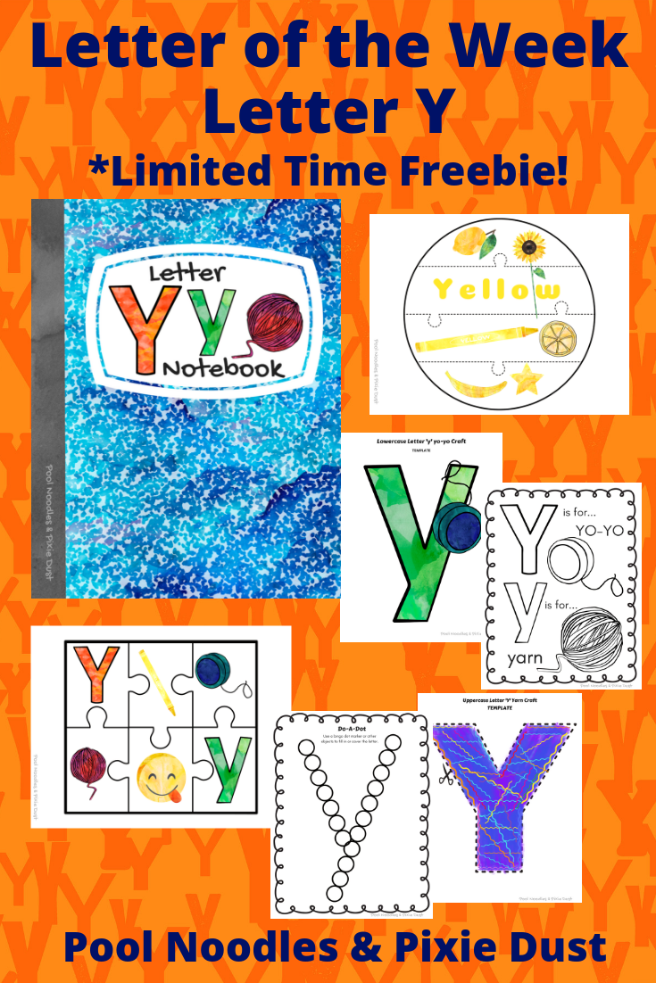 Letter of the Week - Letter Y - Book List, Play Ideas, Animals that start with Y, and a printable Letter Y Notebook full of crafts and activities focused on letter Y.