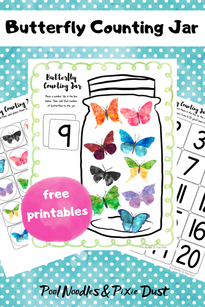 Free Butterfly Counting Jar Activity and Printables. Perfect for Spring Math Centers! - Pool Noodles & Pixie Dust