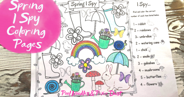 Spring I Spy Coloring Pages - Pool Noodles & Pixie Dust