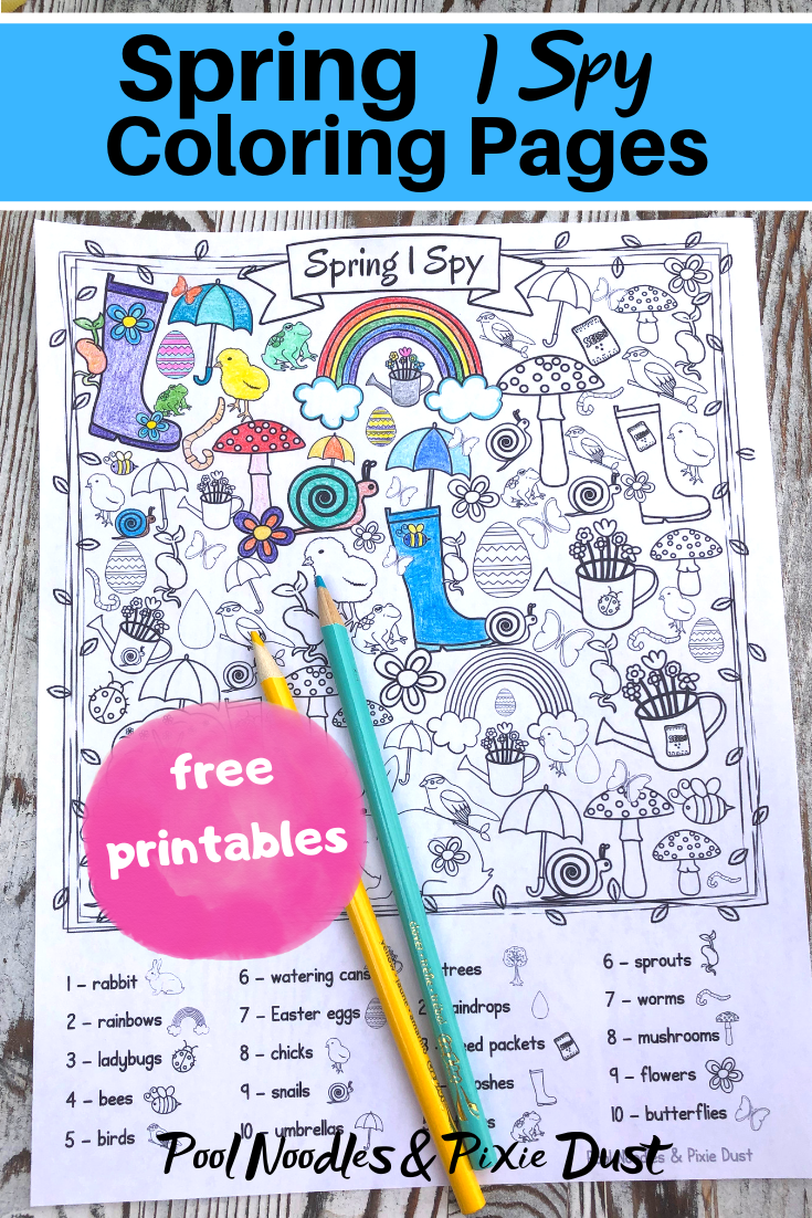 Free Spring I Spy Coloring Pages - Pool Noodles & Pixie Dust