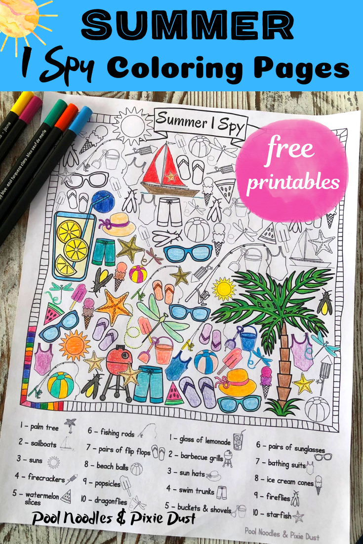 I spy Coloring Pages for Summer! - Pool Noodles & Pixie Dust