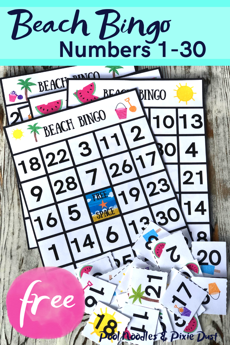 Try this fun and FREE printable beach themed Bingo game for summer! Practice number recognition with numbers 1-30. - Pool Noodles & Pixie Dust