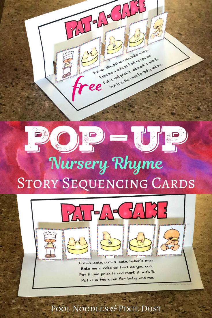 Pat-A-Cake Nursery Rhyme Pop-Up Story Sequencing Cards - Pool Noodles & Pixie Dust