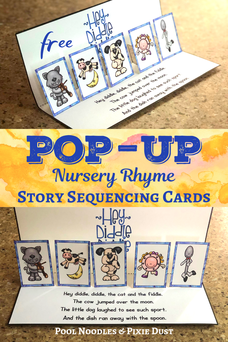 Hey Diddle Diddle the cat and the Fiddle - Nursery Rhyme Pop-Up Sequencing Cards - Pool Noodles & Pixie Dust